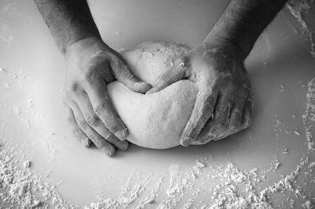 Baker kneading bread, Hobbs House Bakery, Tom Herbert, Fabulous Baker Brothers