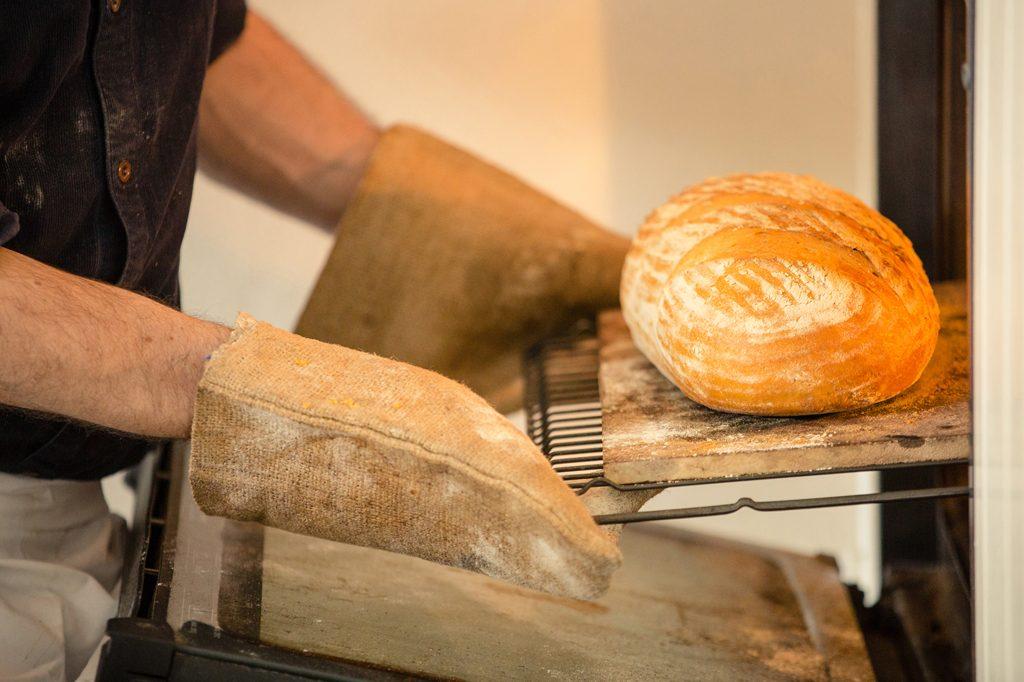 Taking breakout of oven, Hobbs House Bakery, Tom Herbert, Fabulous Baker Brothers