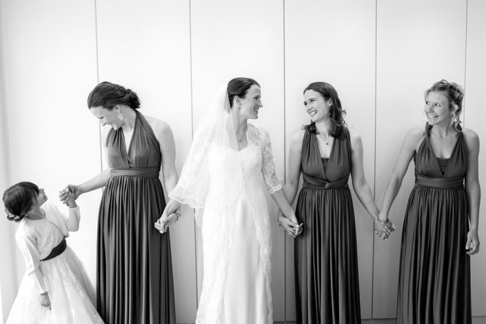 Black & White Portrait of Bride & Bridesmaids